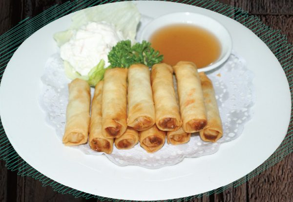 """<span style=""""color: #F6931B;"""">Vegetarian Spring Roll</span>"""